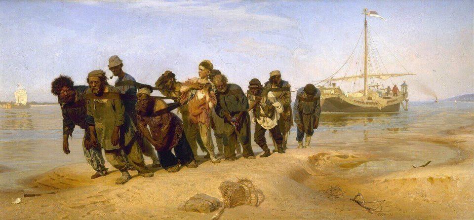 Répine. Les Haleurs de la Volga