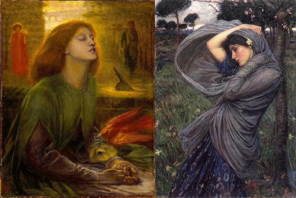 Left: Dante Gabriel Rossetti.BeataBeatrix, 1864-1870.Tate Gallery, London.Right: John William Waterhouse. Boreas. 1903. Private collection.