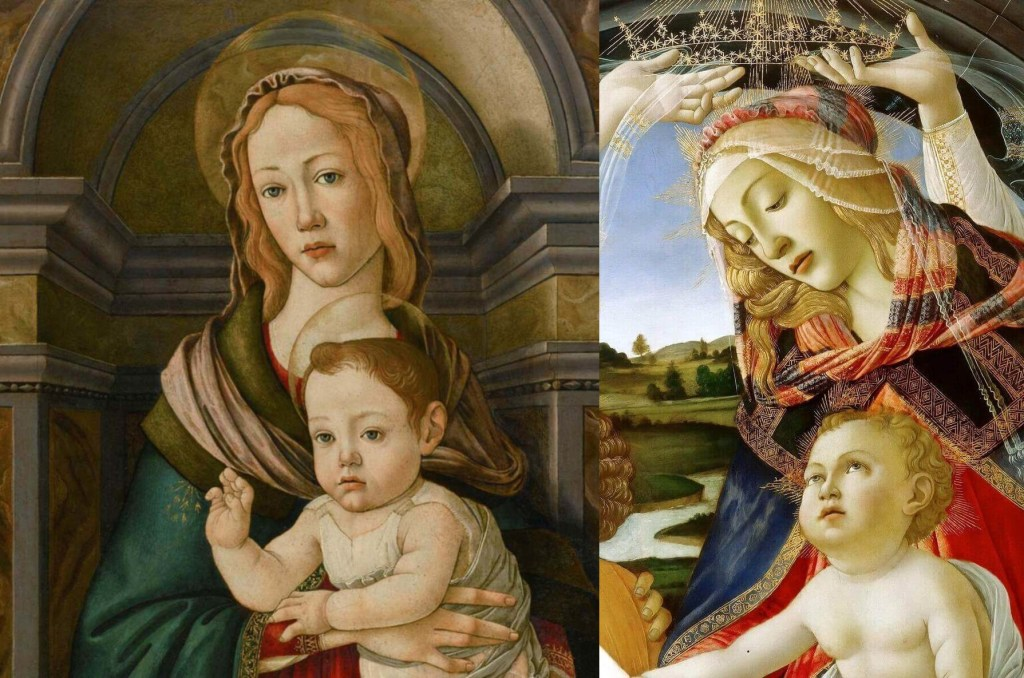 Fragments of paintings by Botticelli. Left: Madonna on the Throne. 1480. Private collection. Right: Madonna of the Magnificat. 1480-1481. The Uffizi Gallery.