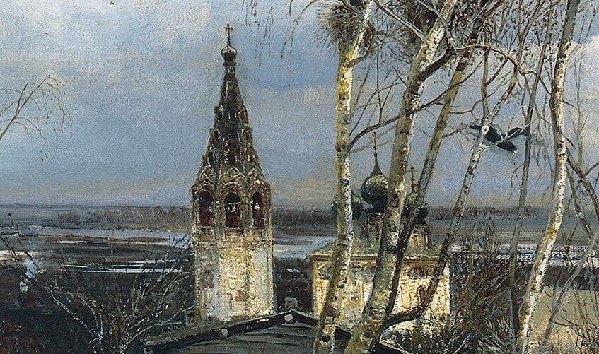Alexey Savrasov. Rooks have arrived (fragment)