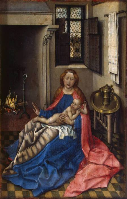 Robert Campin. Madonna and Child by the fireplace