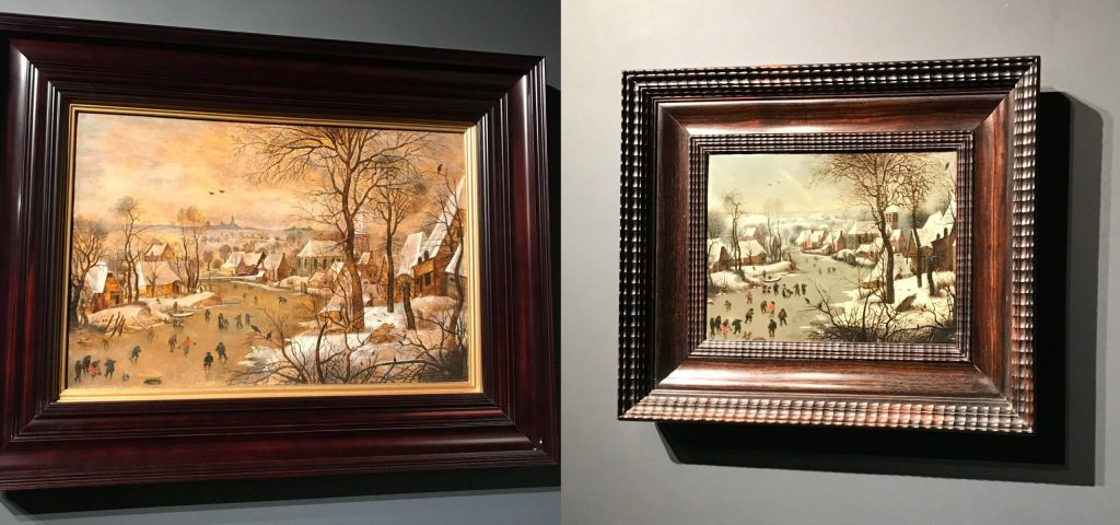 Left: Pieter Brueghel the Younger. Winter landscape with a bird trap. Right: Jan Brueghel the Elder. Winter landscape with a bird trap. The beginning of the 16th century. Private collection of Valeria and Konstantin Mauerhaus. Photo from the personal archive.