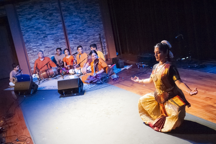 Music and dance of South India performance by Tara Anand Bangalore, Gaurish Chandrashekhar, Sridevi Ajai Thirumalai, Sudarshan Thirumalai, Pratik Bharadwadj, and Kaasinath Balagurunath at the showcase concert, HIDING IN PLAIN SIGHT: FOLK MASTERS OF MASSACHUSETTS presented by Mass Cultural Council at the Shalin Liu, Rockport, MA 5/14/2017. Photograph by Brendan Mercure.