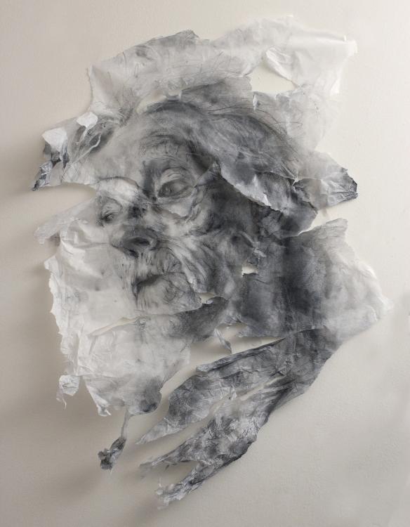 Clara Lieu (Drawing & Printmaking Fellow '18), SCARS THAT SPEAK NO 5 (2016), graphite on tissue paper, 24x18x3 in