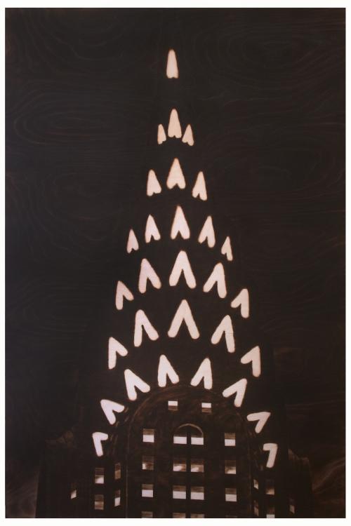 Paul Chojnowski, GOTHAM FILM STILL (2014), burned and scorched Baltic birch plywood, 60x40x2 in