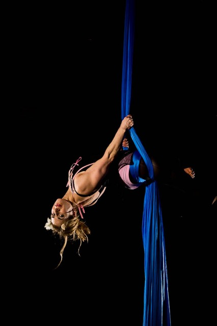 Jill Maio performing as an aerialist