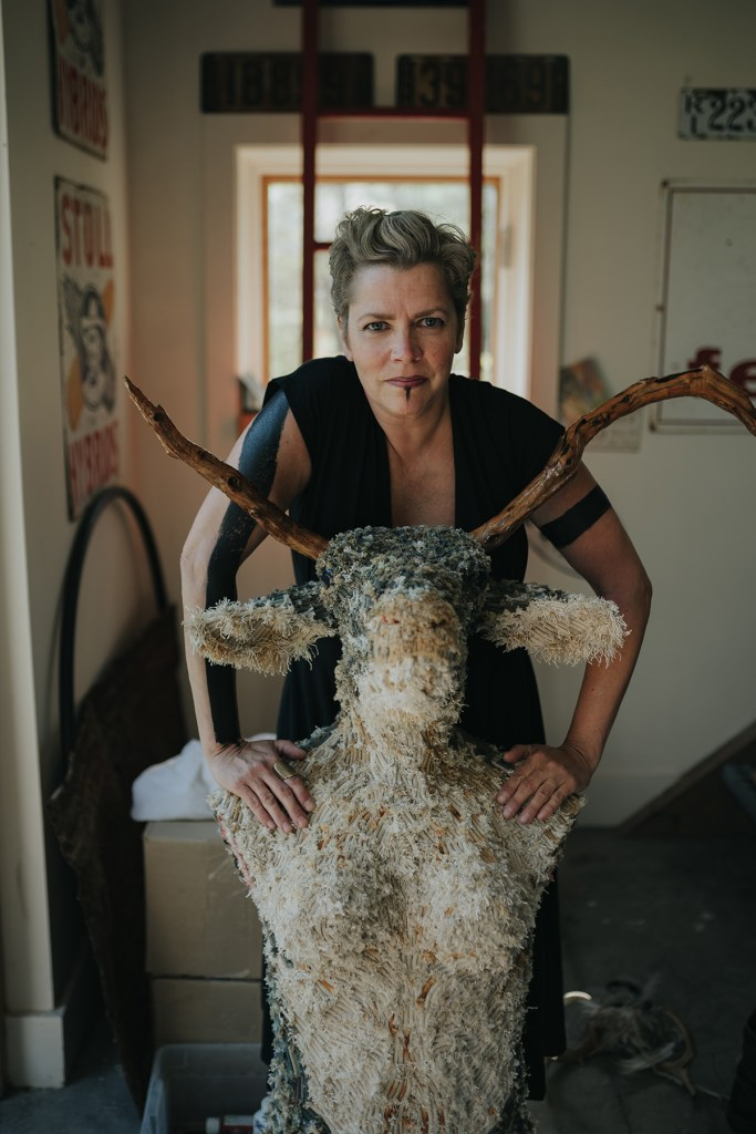 Photograph of Cape Cod artist and environmentalist Gin Stone. Photo by Joe Navas.