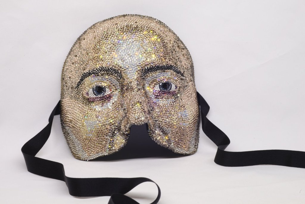Judith Klausner, MIGRAINE MASK (SELF PORTRAIT) (2014), clay, Swarovski crystals, metal, silk, flocking, 6x6x3.5 in.