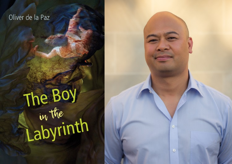 Cover art for THE BOY IN THE LABYRINTH (Univ of Akron Press 2019) by Oliver de la Paz (Poetry Fellow '20).