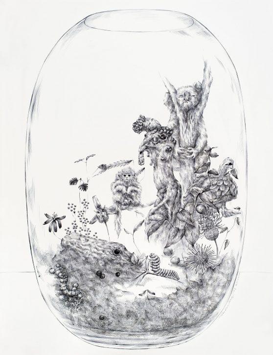JooLee Kang (Drawing & Printmaking Fellow '12), TERRARIUM #1 (2020), ballpoint pen on paper, 30.5x24 in