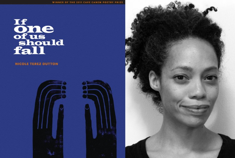(Right) cover art for IF ONE OF US SHOULD FALL (Pitt Poetry Series 2012) by (left) Nicole Terez Dutton (Poetry Finalist '20).