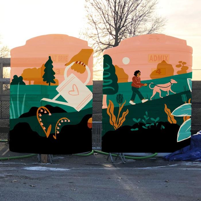 Sketch design of public art mural in Cambridge, MA by Monique Aimee.