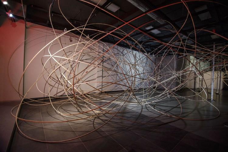 Gina Siepel (Sculpture/Installation/New Genres Finalist '15), 1x1 (2013), ash, wood, epoxy, twine, 11x27x82 ft.