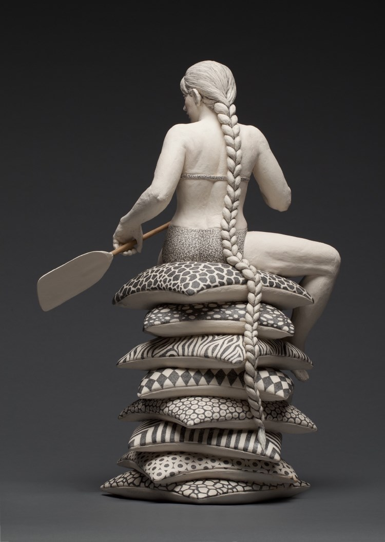Claudia Olds Goldie (Crafts Finalist '17), NAVIGATING A DREAM (2014), ceramic, 20x14x10 in. The artist is exhibiting in the 2020 Biennial Members Exhibition at the Fuller Craft Museum (thru Nov 8).