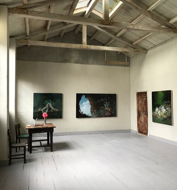 Exhibition by Nicole Duennebier (Painting Fellow '16) in Eben Haines' (Drawing & Printmaking Fellow '18) Shelter in Place Gallery.