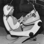 Woman in a futuristic workplace from the 1970s.