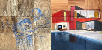 May Sun An Unbearable Separation/Hot Property: luxury home 2018 Acrylic on vinyl flooring panels, mounted on wood Dyptich, 12 x 12 inches (each panel)