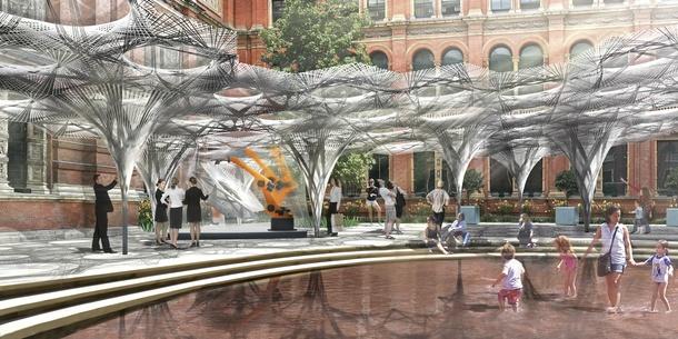 Elytra Filament Pavilion, render, V&A John Madejski © ICD:ITKE University of Stuttgart Garden 2016