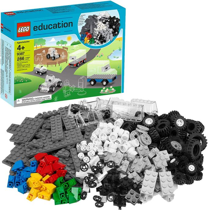 LEGO Education Wheels Set: 286-piece set includes a steering wheel and a variety of windscreens, tires, plates, axles, and wheel hubs to build moveable LEGO vehicles. Build 12 vehicles at one time