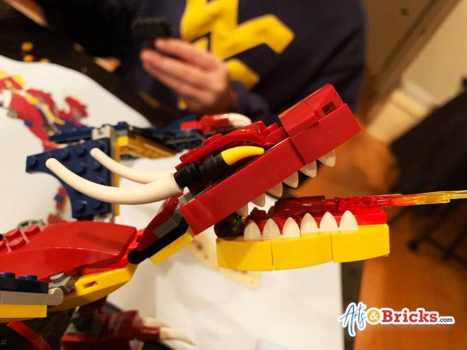 Kid Review of LEGO Creator Fire Dragon, 3-in-1 Set 31102: Favorites, the way the eyes are built, the roundness of the bottom jaw and of course the awesome fire.