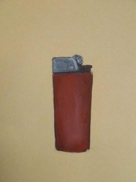 "Lighter, , 8""x10"" Gouache, Acrylic & Ink on BFK Rives"