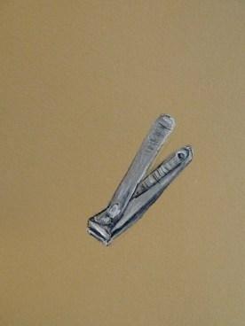 "Nail Clipper, 8""x10"" Gouache, Acrylic & Ink on BFK Rives"