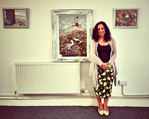 Artist Louise Tomkinson with one of her pieces in our pop up exhibition Photography By Lisa Reeve