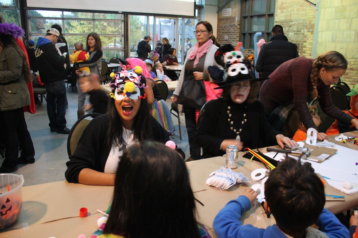 Boo crafting tables kids making masks