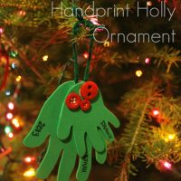 Handprint Holly Ornament