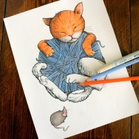 """Cat Nap"" Vintage Storybook-Style Cat Coloring Page for Adults"