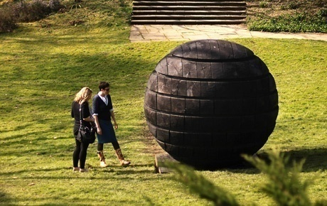 David Nash's Black Sphere at Dartington