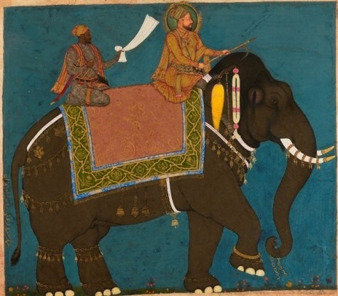 Sultan Muhammad Adil Shah and Ikhlas Khan riding an elephant Bijapur, c.1645 Gouache with gold on paper 28 x 32 cm. LI118.54 © The Collection of Howard Hodgkin