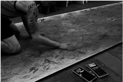 "Working on Contact - Charcoal, Graphite, Sweat & Spit - 59.5"" x 190"" - November 2015"