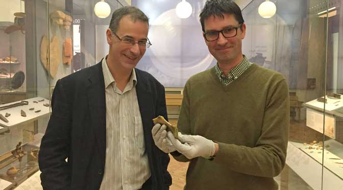 Image: Project leader Professor Stephen Rippon with Curator Tom Cadbury in RAMM's Making History gallery.