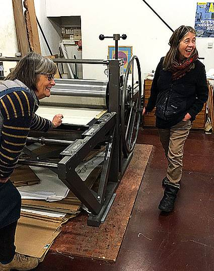 Working the Press at the Old Chapel, Hartland studio