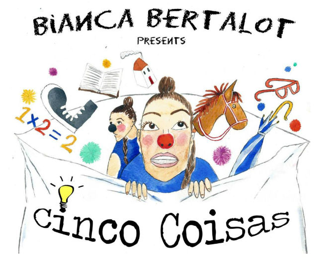 Human vulnerability highlight in clown form in Bianca Bertalot's Cinco Coisas