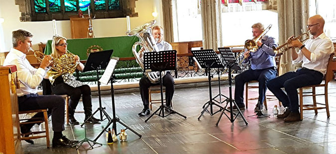 Fun and enjoyment from the Portland Square Brass Quintet at The Minster Church of St Andrew, Plymouth