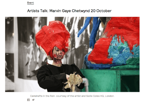 Artists Talk: Marvin Gaye Chetwynd in Exeter 20 October