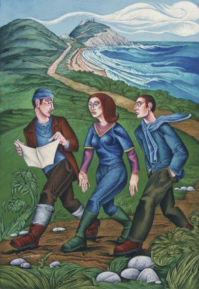 David Brooke - Walkers on the Coastal Path