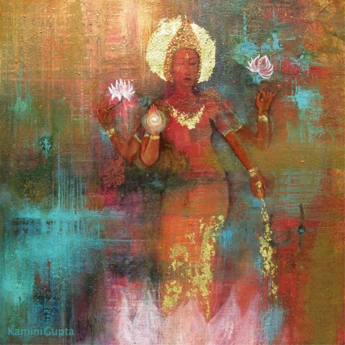 Kamini Gupta, Lakshmi, acylic and gold leaf on canvas, 40x40cm