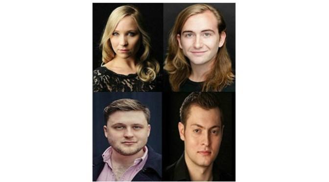 UPCS Soloists Composite: Top row (L-R): Corinne Cowling (soprano); Patrick Terry (counter-tenor). Bottom row (L-R): Richard Pinkstone (tenor); Tim Nelson (baritone).