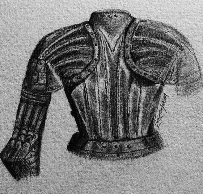 a drawing of the top of  suit of armour