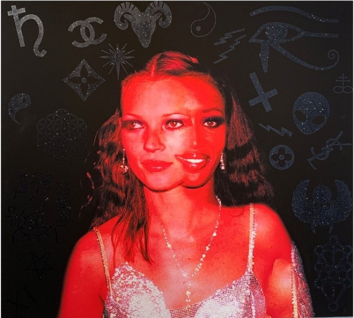 images of naomi campbell and kate moss merge with zodiac symbols in silver on the black background