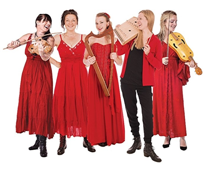 5 women wearing red holing instruments on a white background