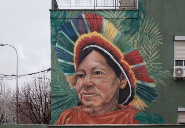the image of a woman on a wall. She has a multicoloured headdress