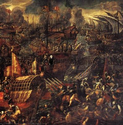 Battaglia di Lepanto ( particolare ), 1603 di Andrea Vicentino (1542-1618,  Italy) | Stampe Di Qualità Del