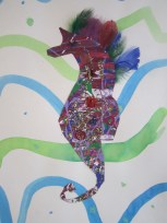 3rd Peyton Painted Paper and Watercolor Seahorse