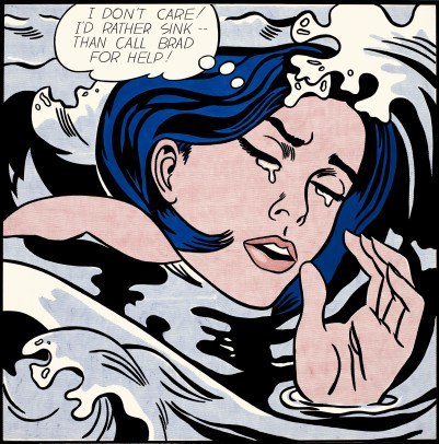 """""""I don't care! I'd rather sink -- than call Brad for help!"""" laments Lichtenstein's 1963 Drowning Girl."""
