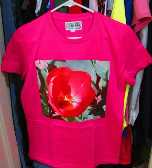 The tulip shirt has a photo I took of a red tulip back in April of 2011.