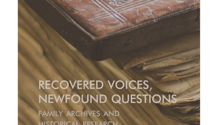 "A Obra ""Recovered Voices, Newfound Questions. Family Archives And Historica…"